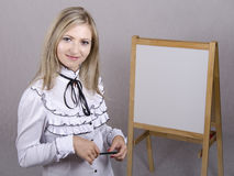 Working girl holds presentation Stock Photos