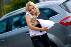 Working girl making mess in the street Stock Image
