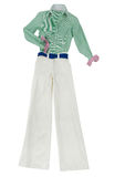 Working girl white trousers look. Working girl white trousers fashion look isolated on white background Royalty Free Stock Photos