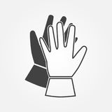 Working gloves icon. Isolated black silhouette on a white background. Flat design. Vector illustration Royalty Free Stock Photography