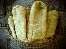 Gloves in Pocket Stock Image