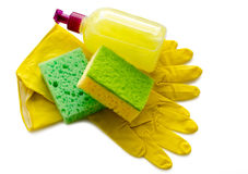 Working gloves and sponge Stock Photography
