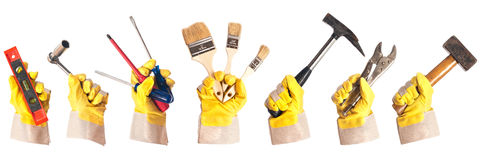 Working gloves with tools Stock Images