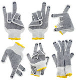 Working gloves, very strange  gestures set Royalty Free Stock Photography