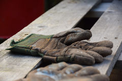 Working gloves. On a wooden surface. Norway stock photography