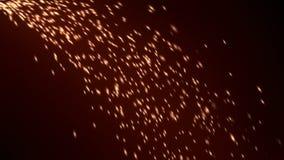Working grinder sparks falling from top left corner against maroon background. Fireworks sparkles imitating working grinder sparks falling from top left corner stock video