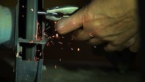 Working on grinding and sparks. And industries stock video footage