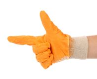 Working hand in glove like of gun. Stock Photography