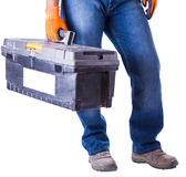 Working in hands holds a box with tools Royalty Free Stock Photography