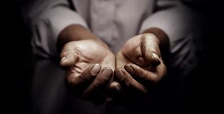 Working hands of old man. The working hands of old man stock images