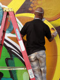 Working Hard to Finish the Mural Royalty Free Stock Photography