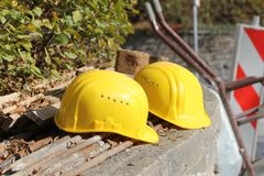 Working helmets Royalty Free Stock Photos