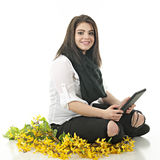 Working her Ipad Stock Image