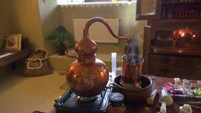 Working historical perfume and cosmetics laboratory in museum stock video footage