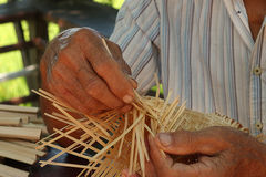 Working hobby basketwork. Thais man working hobby basketwork Royalty Free Stock Images
