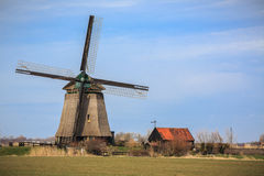 Working Holland windmill in Netherlands Royalty Free Stock Image