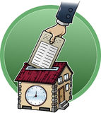 Working at home. Cartoon style illustration about working at home: a hand is punching a house-shaped clock Stock Photo