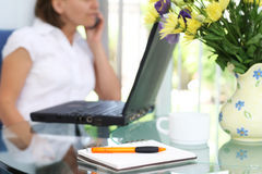 Working at home. Woman at home in front of a computer, talking on the cell phone.. Shallow DOF with focus on pen and notepad in front royalty free stock images