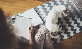 Working at home concept. Young business woman writing and taking notes while relax sitting in comfort chair at home. Preparing plans for next week stock photo