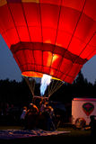 Working the Hot Air Balloon At Night Stock Image