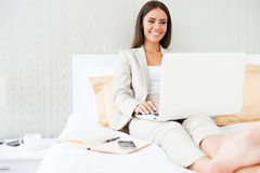 Working in hotel room. Royalty Free Stock Image