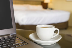 Working in hotel room Royalty Free Stock Photos