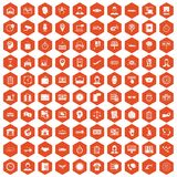 100 working hours icons hexagon orange Royalty Free Stock Photos