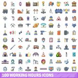 100 working hours icons set, cartoon style. 100 working hours icons set. Cartoon illustration of 100 working hours vector icons isolated on white background Royalty Free Stock Photography