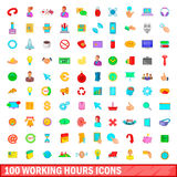 100 working hours icons set, cartoon style. 100 working hours icons set in cartoon style for any design illustration Royalty Free Stock Images