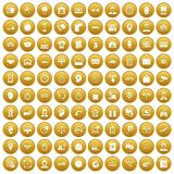 100 working hours icons set gold. 100 working hours icons set in gold circle isolated on white vectr illustration Stock Photos
