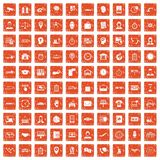 100 working hours icons set grunge orange. 100 working hours icons set in grunge style orange color isolated on white background vector illustration Stock Image