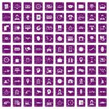 100 working hours icons set grunge purple. 100 working hours icons set in grunge style purple color isolated on white background vector illustration Vector Illustration