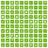 100 working hours icons set grunge green. 100 working hours icons set in grunge style green color isolated on white background vector illustration Stock Photo