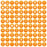 100 working hours icons set orange. 100 working hours icons set in orange circle isolated vector illustration stock illustration