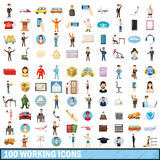 100 working icons set, cartoon style Stock Photography