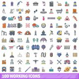 100 working icons set, cartoon style. 100 working icons set in cartoon style for any design vector illustration Stock Image