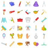 Working icons set, cartoon style Stock Image