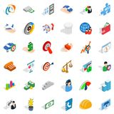 Working idea icons set, isometric style Royalty Free Stock Images