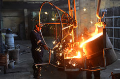 Working In A Foundry Stock Image