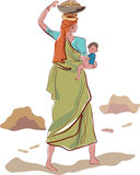 Working indian mother. Line art image Stock Images
