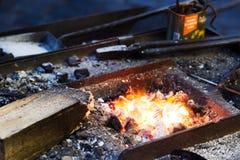 Working iron craftsman. In Prague Stock Photos