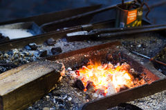 Working iron craftsman. In Prague Royalty Free Stock Images
