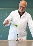 Working in a laboratory with a Bunsen burner Royalty Free Stock Photo