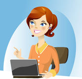 Working lady. In the office with happy smile Royalty Free Stock Images