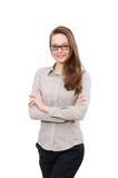 Working lady isolated on white Royalty Free Stock Photography