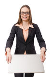 Working lady with laptop isolated on white Royalty Free Stock Photos