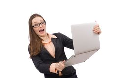 Working lady with laptop isolated on white Royalty Free Stock Photography