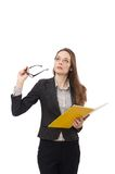 Working lady with paper isolated on white Royalty Free Stock Photo