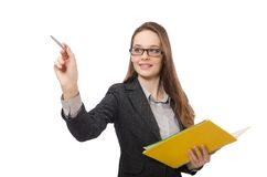 Working lady with paper isolated on white Royalty Free Stock Photos
