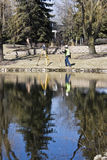 Working Land Surveyor reflected Royalty Free Stock Image